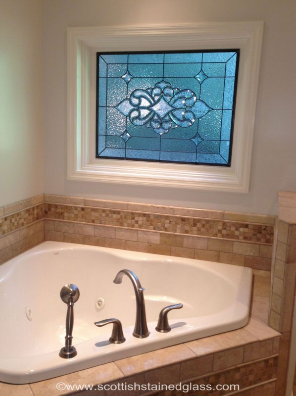 Minneapolis Stained Glass Bathroom Stained Glass Beveled Window With  Transom Window Above. MSG 82